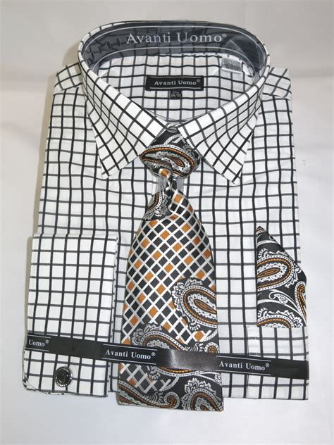 pattern matching in french avanti dn72m black men s french cuff dress shirt with mini