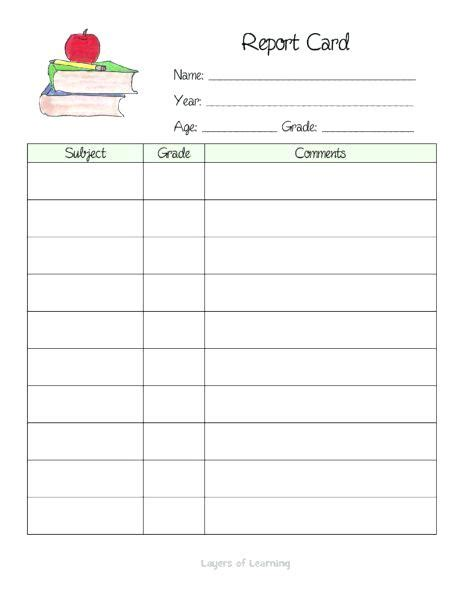 homschool report card template homeschool report card template free noshot info