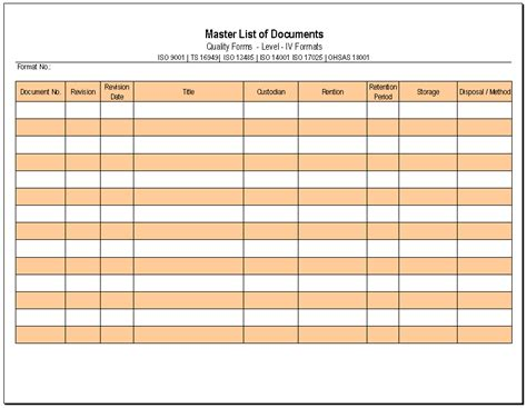document master list template master list of documents