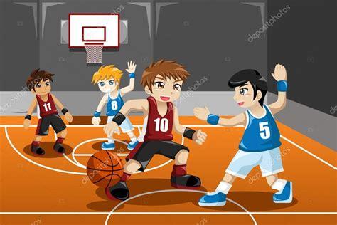 imagenes niños jugando basquetbol chicos jugando al baloncesto vector de stock