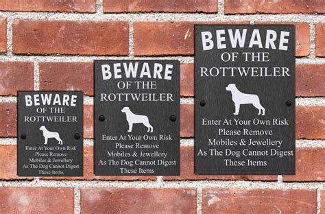 beware of rottweiler sign humorous beware of the rottweiler slate sign plaque 3 sizes available