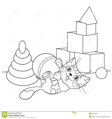 coloring page outline  cartoon cat playing  toys