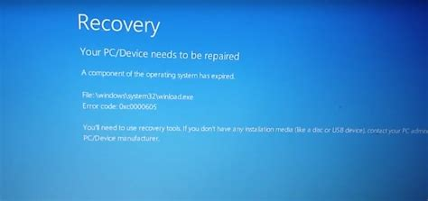 how to fix windows error 0xc0000605 recovery your pc device needs to be repaired blue screen