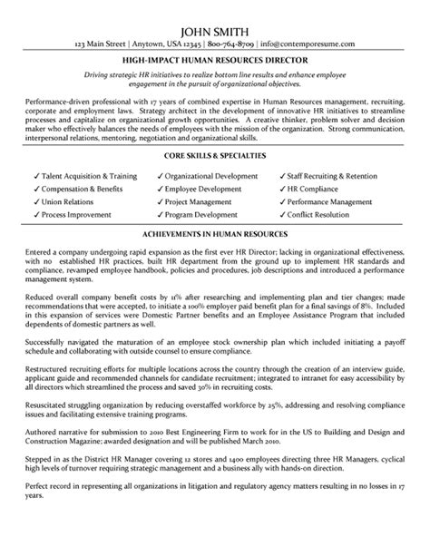 human resource resume exles director of human resources resume