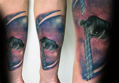 satellite tattoo 40 satellite designs for outer space ink ideas