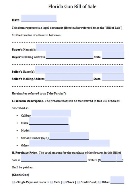 Free Florida Firearm Gun Bill Of Sale Form Pdf Word Doc Bill Of Sale Template Florida