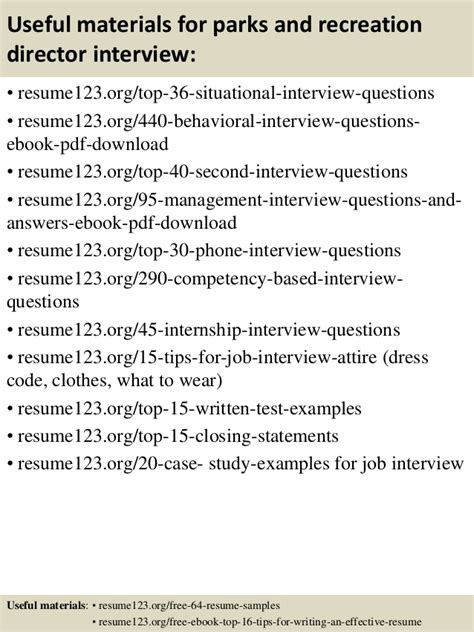 top 8 parks and recreation director resume sles