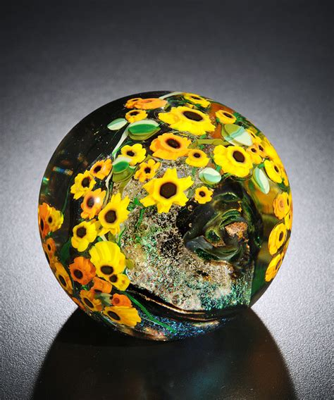 Glass Paper Weight - sunflowers paperweight by shawn messenger glass