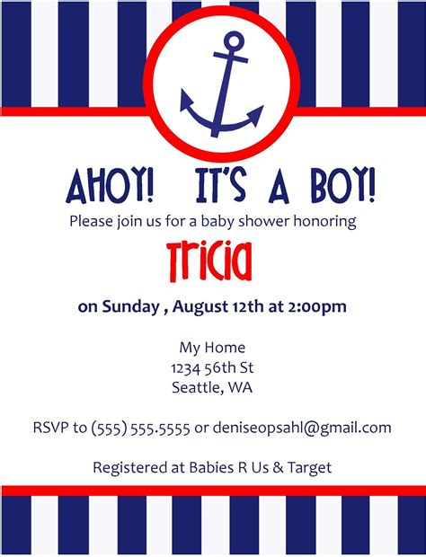 free nautical baby shower invitation templates nautical invitations template best template collection