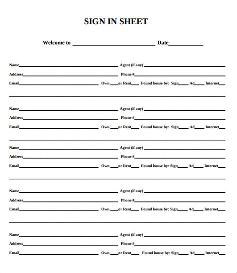 realtor open house sign in sheet vertola
