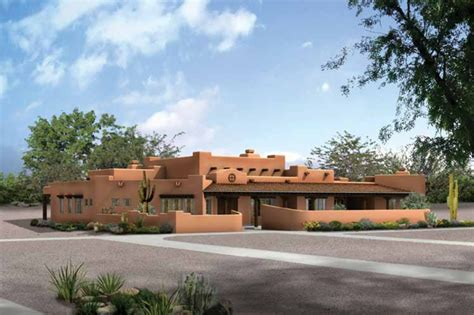 Adobe Style Home Plans by Adobe Southwestern Style House Plan 4 Beds 3 5 Baths