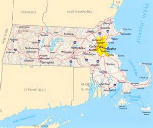 large map of massachusetts state with relief highways and
