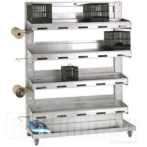 porta gabbie per uccelli stabulatore acciaio inox 20 gabbie tordo merlo cesena