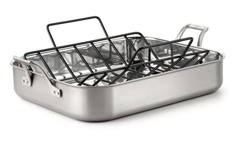 calphalon accucore stainless steel roasting pan with rack