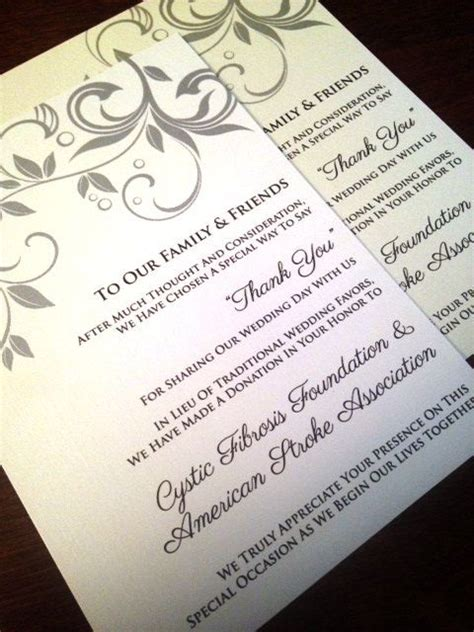 in lieu of gifts wedding wedding donation cards in lieu of a favor hospice