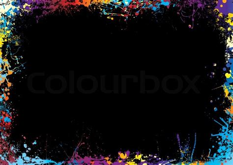 Cool Frame Designs by Black Background With A Rainbow Ink Splat Border Stock