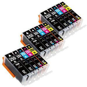 15pk pgi 250 xl cli 251 xl ink cartridges for canon mg6620 mg7120 mg7520 mx722 ebay