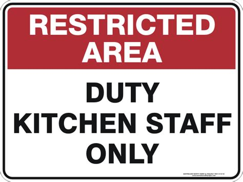 Kitchen Area Labels Duty Kitchen Staff Only Australian Safety Signs