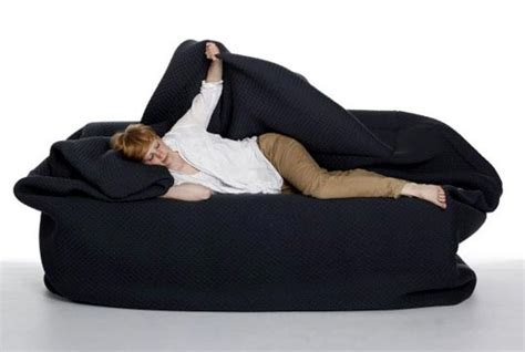moody couch bean bag style couch with built in pillow and blanket