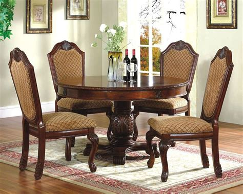 5pc Dining Room Set With Round Table In Classic Cherry Set Dining Room Table