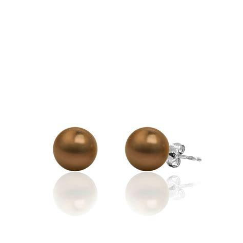 14k white gold chocolate tahitian pearl stud earrings