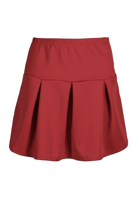 Pleated Plain Mini Skirt womens plain high waisted pleated flared skater
