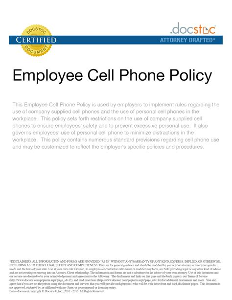 cell phone policy template gse bookbinder co