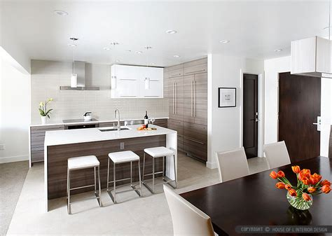 Sleek Kitchen Design by White Glass Subway Backsplash Tile
