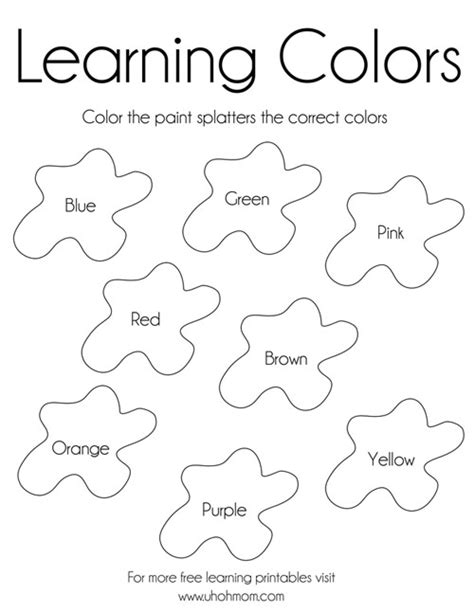 learning colors free printable uh oh mom