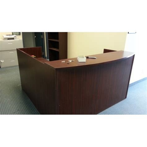 Cherry Reception Desk L Shape Reception Unit Desk Cherry Allsold Ca Buy Sell Used Office Furniture Calgary