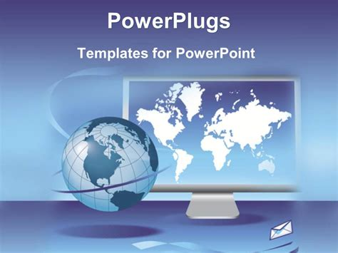 powerpoint templates for communication presentation powerpoint template global communication on a computer screen with email on blue background 16691