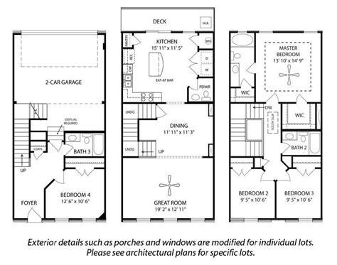 3 story home plans story house floor and story townhouse floor floor