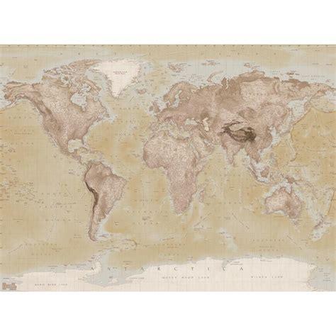 World Map Wallpaper Atlas Wall - 1 wall neutral world map atlas wallpaper mural 1 58m x 2