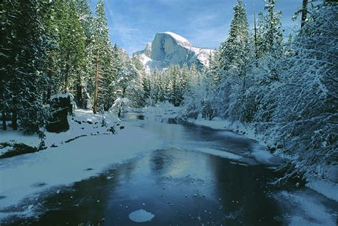 christmas wallpaper for yosemite half dome and merced river in winter