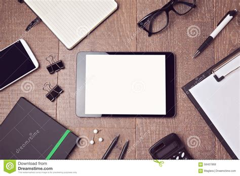Digital Tablet Mock Up Template On Office Desk View From Above Stock Photo Image 58407868 Digital Mock Up Templates