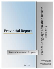 french language education review   provincial report manitoba education  training