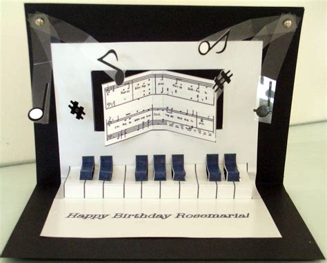 Grand Piano Pop Up Card Template by Pop Up Piano Birthday Card Inside View
