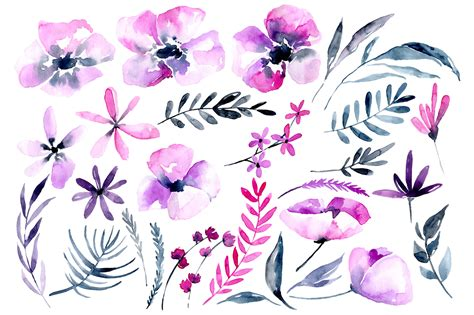 How To Display Cards purple amp pink watercolor flowers png by watercolorflowers