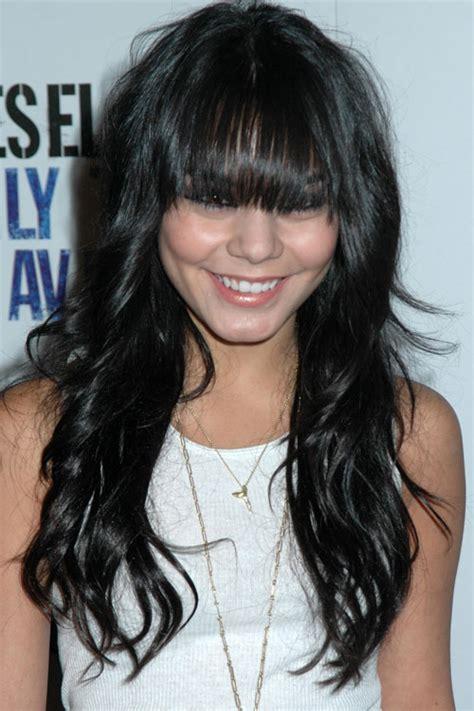 hairstyles for overgrown bangs vanessa hudgens wavy black overgrown bangs straight bangs