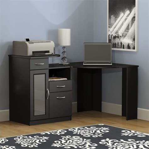 computer corner desks for home vantage corner home office computer desk in black