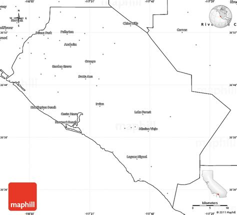 orange county usa map blank simple map of orange county