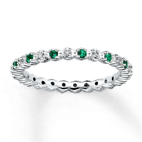 stackable ring lab created emeralds 1 20 ct tw diamonds