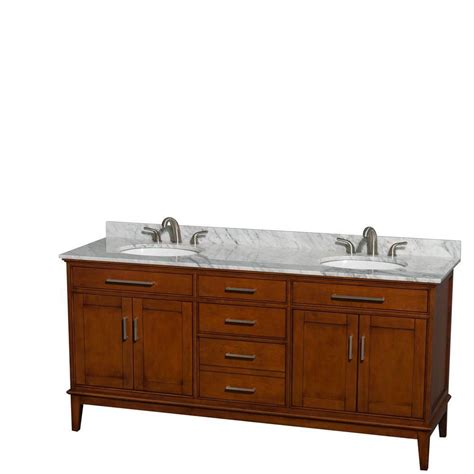 Vanity Hours wyndham collection hatton 72 inch w vanity in light chestnut with marble top in carrara