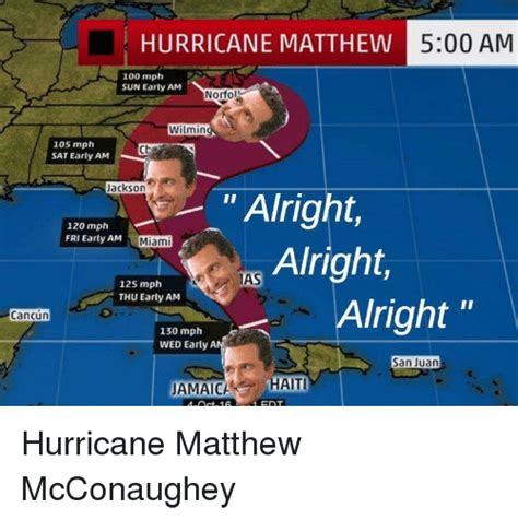 Hurricane Matthew Memes - hurricane matthew 500 am 100 mph sun early am norfol wilmin 105 mph sat early am jackson alright