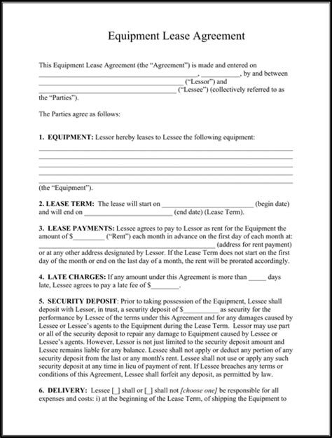 Furniture Rental Contract Template equipment lease agreement for excel pdf and word