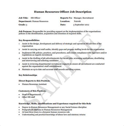 9 Human Resource Job Description Templates Free Sle Exle Format Download Free Hr Council Description Template