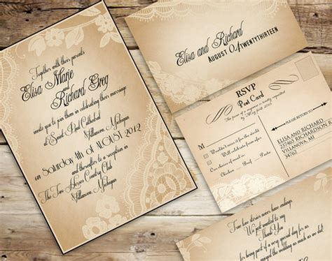 vintage wedding invitations set  tone   timeless