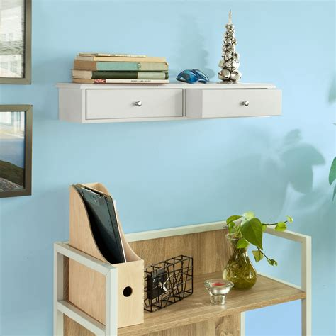 Shelf With Drawers Wall Mounted by Sobuy 174 Wall Mounted Shelf With 2 Drawers Storage Unit