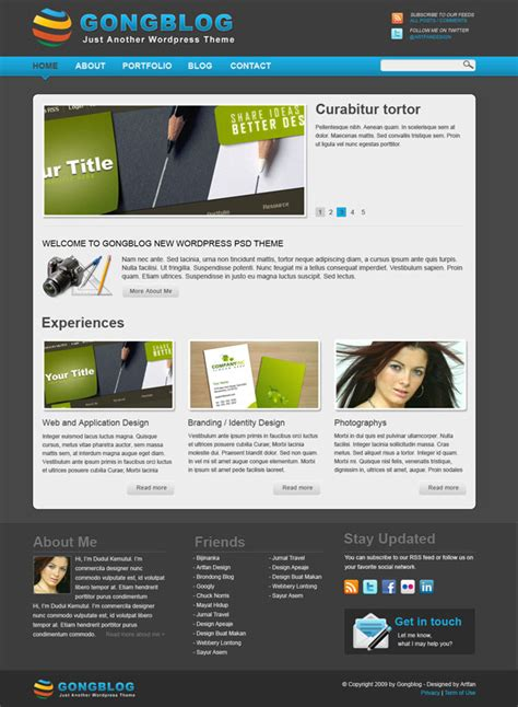 wordpress layout psd minimalist psd wordpress theme template gongblog