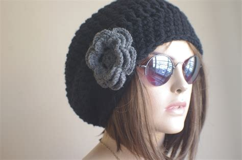 womens hat chunky knit slouchy black gray beanie slouch
